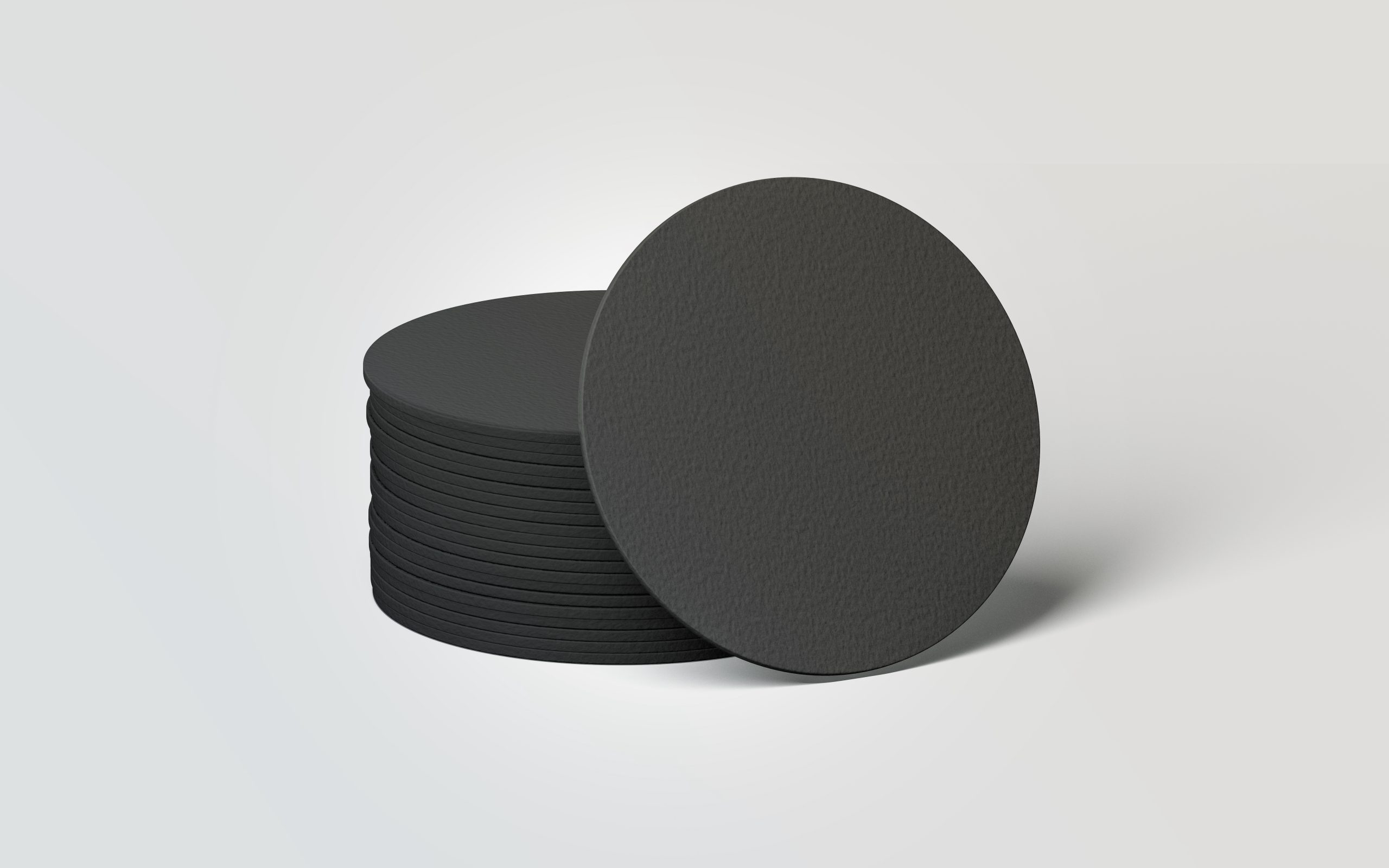 Blank black round beer coasters stack mockup, 3d rendering. Empty protection display mock up. Clear cardboard holder for beer or hot drink. Pile of label holder template for bar branding.